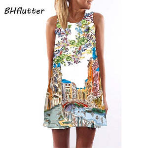 2018 Summer Dress Women Floral Print Chiffon Dress Sleeveless Boho Style Short Beach Dress Sundress Casual Shift Dresses Vestido - go-sale-now