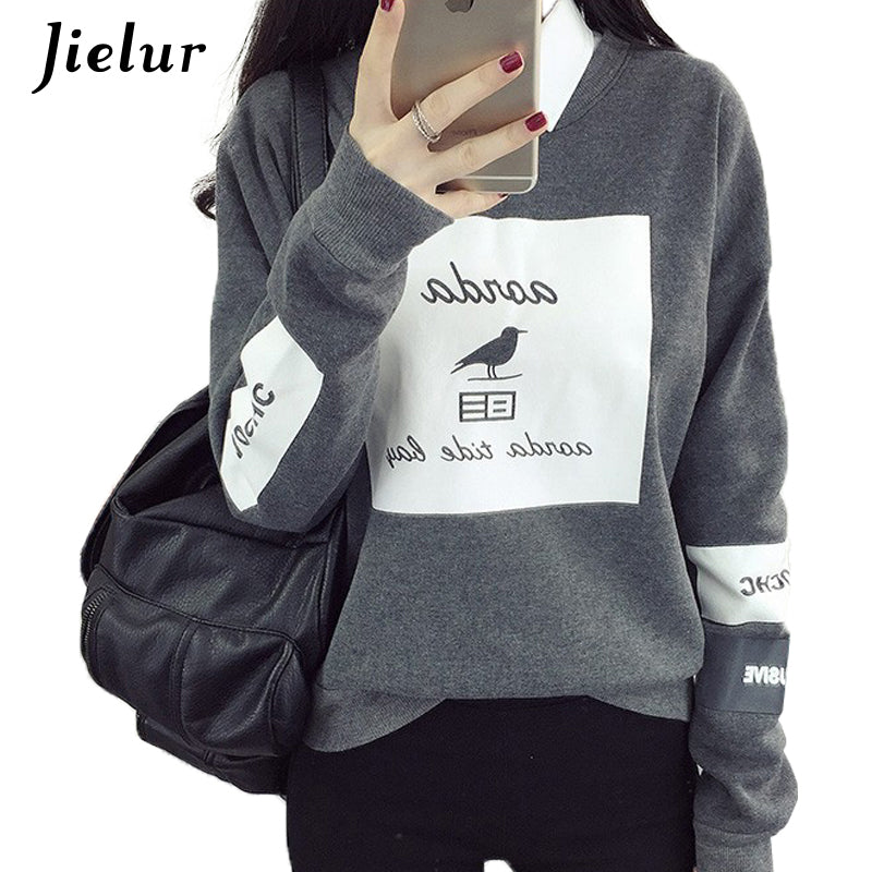 Korean Pop Autumn Harajuku Bird Letter Printed Hoodies Women Loose Round Neck Fleece Tracksuits Pullover Cool Sweatshirt Female - go-sale-now