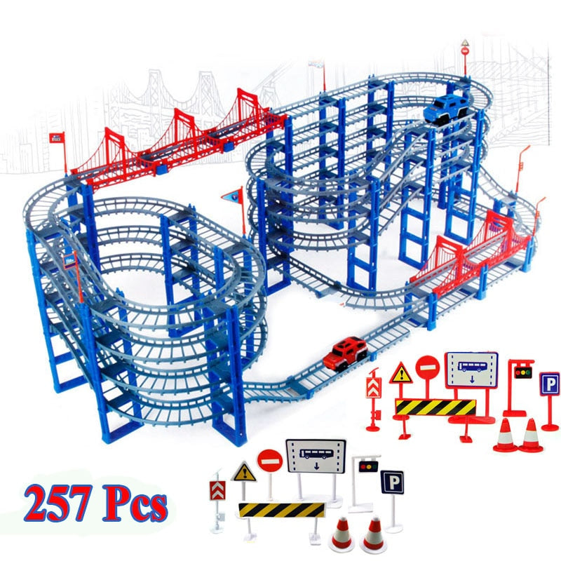 257pcs DIY Track Car Diecasts Toy Vehicles Rail Car Road Assembled Educational Toys - go-sale-now