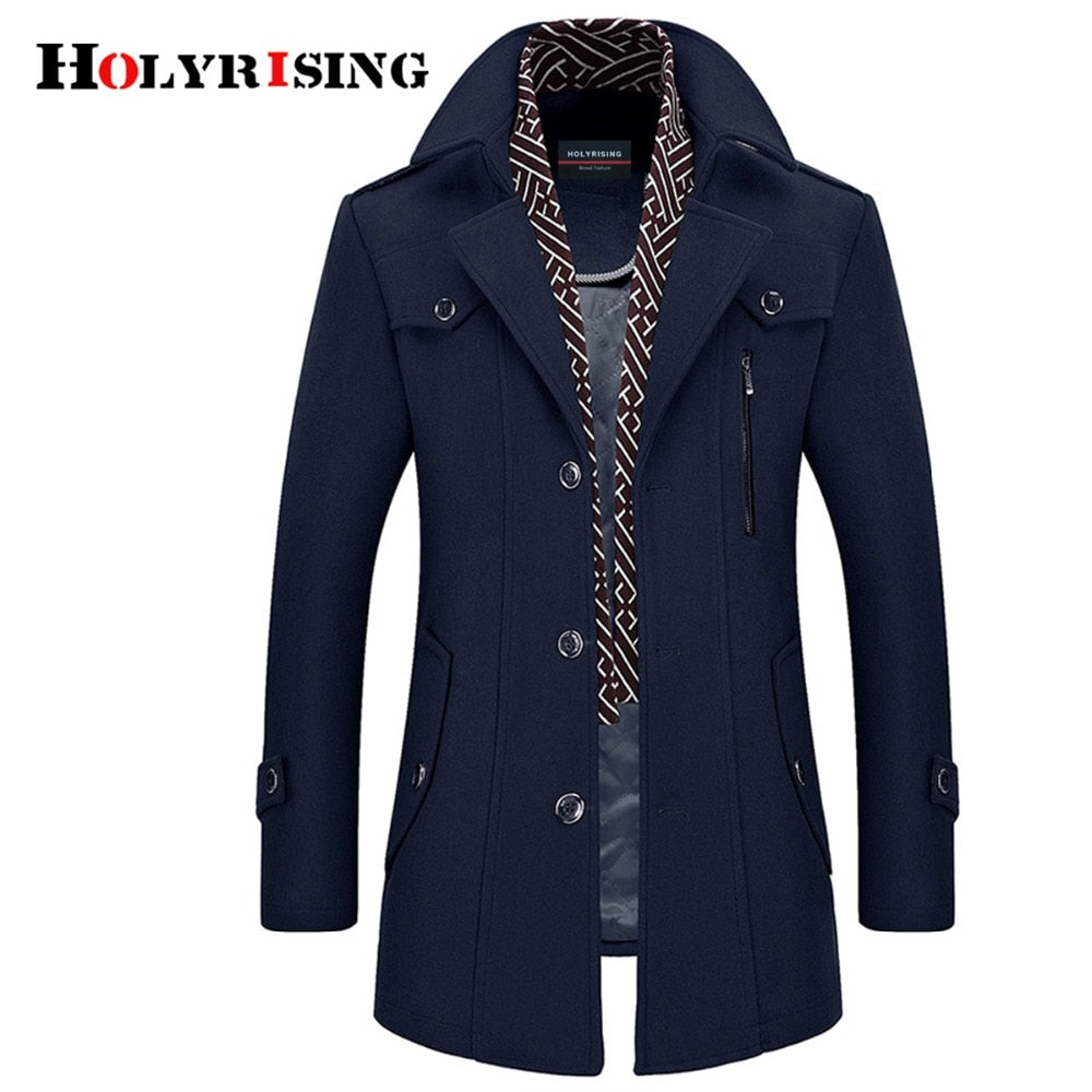 Holyrising Men Coat Wool Overcoat Turn Collar Warm Jackets Woolen Men Coats And Blends With Scarf Breathable Outwear 18423-5