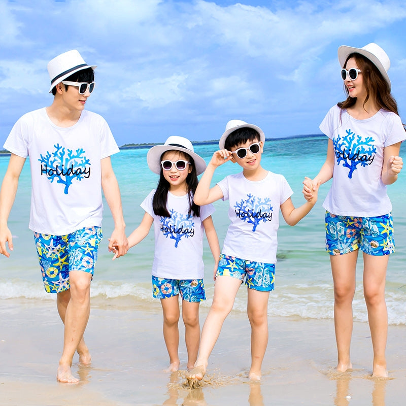 2018 New family outfits woman man girl boy Sets holiday short sleeve cotton T shirt + Shorts family look - go-sale-now
