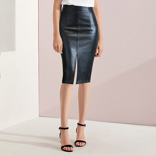 Black Leather Skirt Women Plus Size Midi PU Pencil Skirts Womens Skirt With High Waist Office Leather Skirt Knee Length Female - go-sale-now