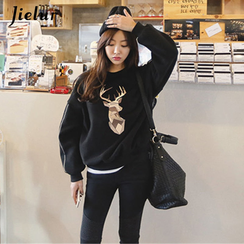Jielur Winter New BF Harajuku Fleece Loose Tracksuit for Women Kawaii Abstract Fawn Hoodies Pullover Bat Sleeve Sweatshirts XXL - go-sale-now