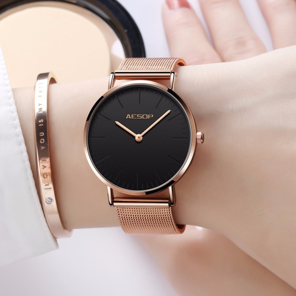 Luxury Women Watches Simple Ladies Steel Watch Rose Gold Elegant Minimalism Casual Black Female Waterproof Clock for Girl 2018 - go-sale-now