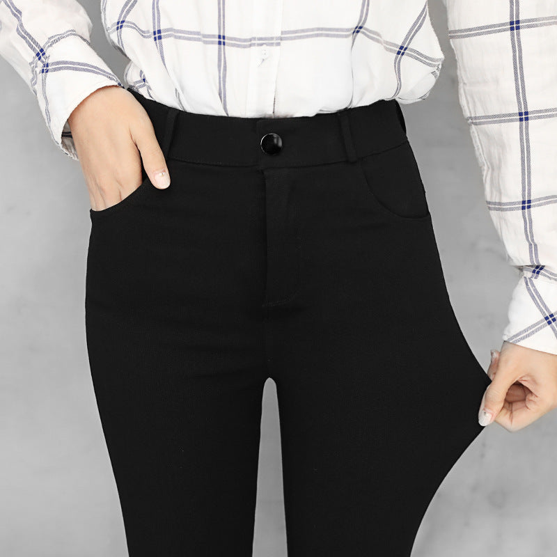 New wild black tight pencil pants Ladies Jean Trousers High Waist Straight Leg Zip Belt Plain Pants Women Elegant Crop Trousers - go-sale-now