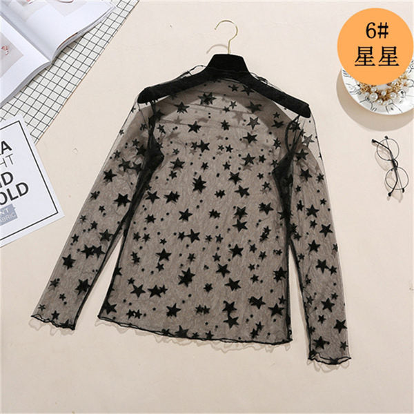 spring Summer Women Lace Blouses Shirt Women tops Sexy mesh Blouses See-through Long Sleeve Black Dot Star Striped Shirt Blouse - go-sale-now