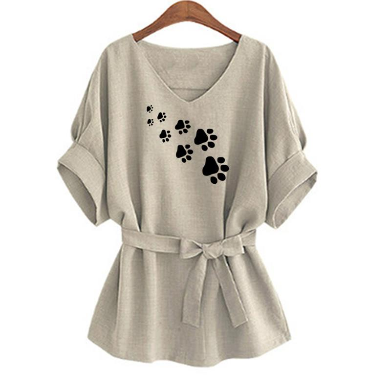 2018 New Fashion Dog Paw  Print T-Shirt Female Plus Size Tshirt Funny Cropped  Summer Korean Camiseta - go-sale-now