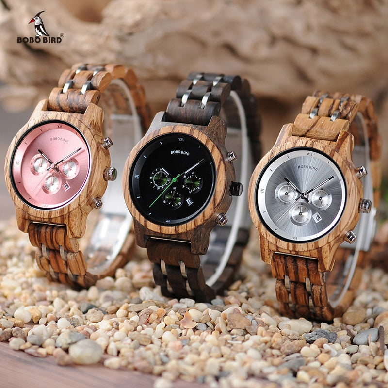 BOBO BIRD Women Wooden Watches Orologio da donna Luxury Wood Metal Strap Chronograph Date Ladies Quartz Watch Timepieces - go-sale-now