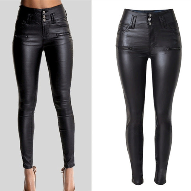 LOGAMI Women Pu Leather Pants Black Sexy Stretch Bodycon Trousers Women High Waist Long Pants - go-sale-now