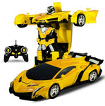 Rc Transformer 2 in 1 RC Car Driving Sports Cars drive Transformation Robots Models Remote Control Car RC Fighting Toy Gift - go-sale-now