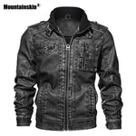 Mountainskin 7XL Men's PU Jacket Leather Coat Autumn Slim Fit Faux Leather Motorcycle Jackets Male Coats Brand Clothing SA591 - go-sale-now