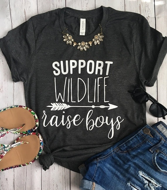Style Women's T Shirt Support Wildlife Raise Boys Letters Printed Women O-Neck Casual Funny T-Shirt Mom Shirt Mom Life Shirt - go-sale-now