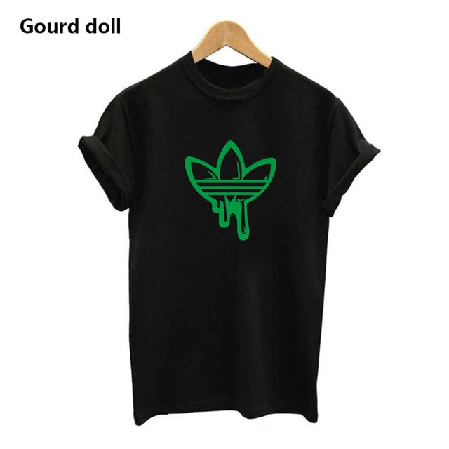 hot AD  Printing Women's T shirt Casual Round neck European and American  tide black white short t shirt woman tee shirts red - go-sale-now