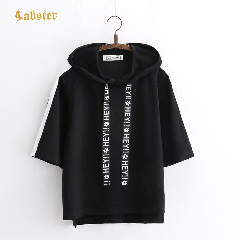 2018 New Spring Women's Pullovers Hooded short Sleeve Casual Sweatshirt Print Letter Tie Women Sweatshirt Hoodies ST211 - go-sale-now