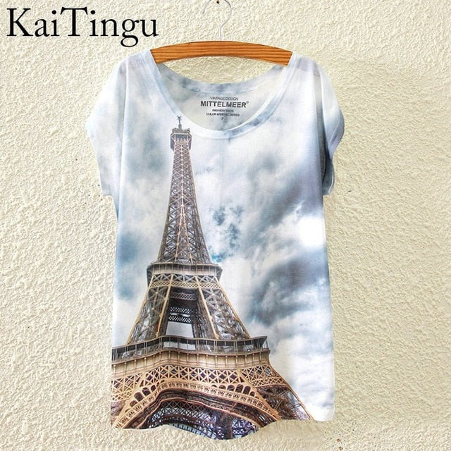KaiTingu 2019 Brand New Fashion Spring Summer Harajuku Short Sleeve T Shirt Women Tops Eiffel Tower Printed T-shirt White Cloth - go-sale-now