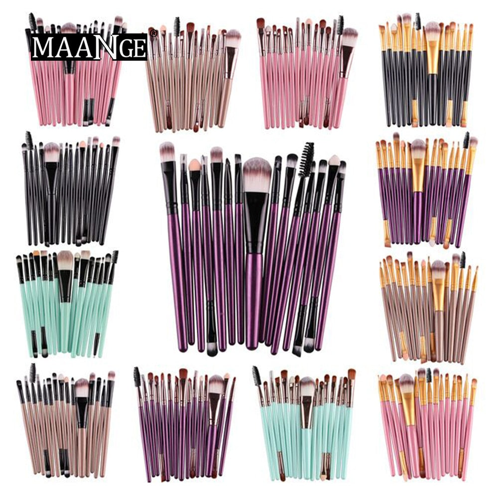 MAANGE Pro 15Pcs Makeup Brushes Set Eye Shadow Foundation Powder Eyeliner Eyelash Lip Make Up Brush Cosmetic Beauty Tool Kit Hot - go-sale-now