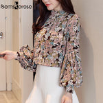 2018 Autumn Fashion Long Sleeve Chiffon Blouses Women Elegant Floral Blouse Office Work Wear shirts Women Tops Plus Size Blusas - go-sale-now