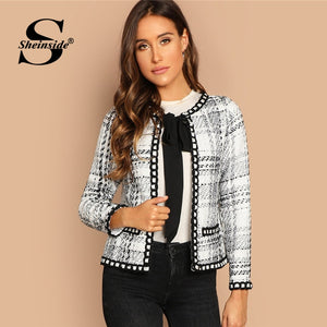 Sheinside Tie Neck Whipstitch Detail Tweed Coat Women Autumn Jacket Black and White Elegant Outerwear Womens Coats And Jackets - go-sale-now