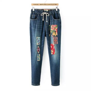 Chinese Style Patch Embroidered Large Size Loose Jeans Students Female Casual Haren Pants Long Trousers With Flower Appliqued - go-sale-now