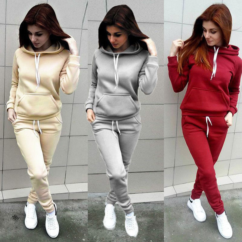 Brand New 2 Piece Set Women Hoodies Pant Clothing Set Warm Newest Clothes Ladies Solid Tracksuit Women Set Top Pants Suit Female - go-sale-now