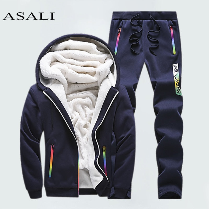 Winter Tracksuits Men Set Casual Thicken Fleece Warm Hooded Jacket Pants Spring Sweatshirt Sportswear Coats Hoodie Track Suits - go-sale-now