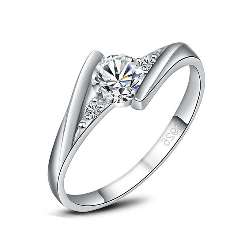 YAAMELI Fashion Micro Cubic Zirconia with White Crystal Finger Rings 925 sterling-silver-jewelry for Women Girls Party - go-sale-now