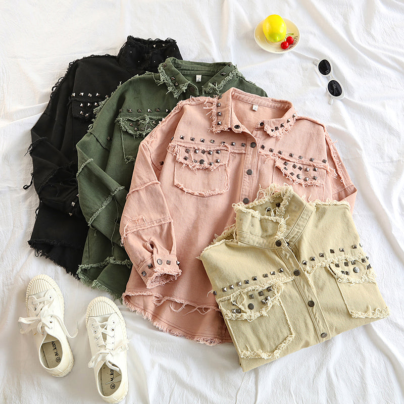 Spring Studded Frayed Women's Denim Jacket Long Sleeve Women's Jackets Large Size Outerwear Irregular jeans jacket Streetwear - go-sale-now