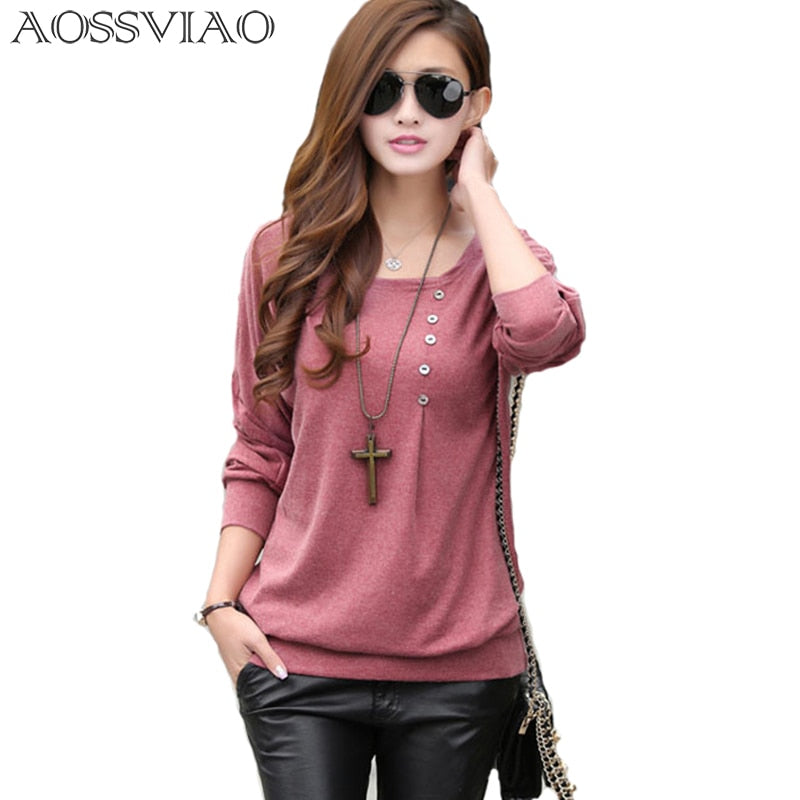 2019 tee shirt femme fashion O-neck tshirt women casual loose bat sleeve cotton T-shirt winter tops plus size women t shirt 5XL - go-sale-now