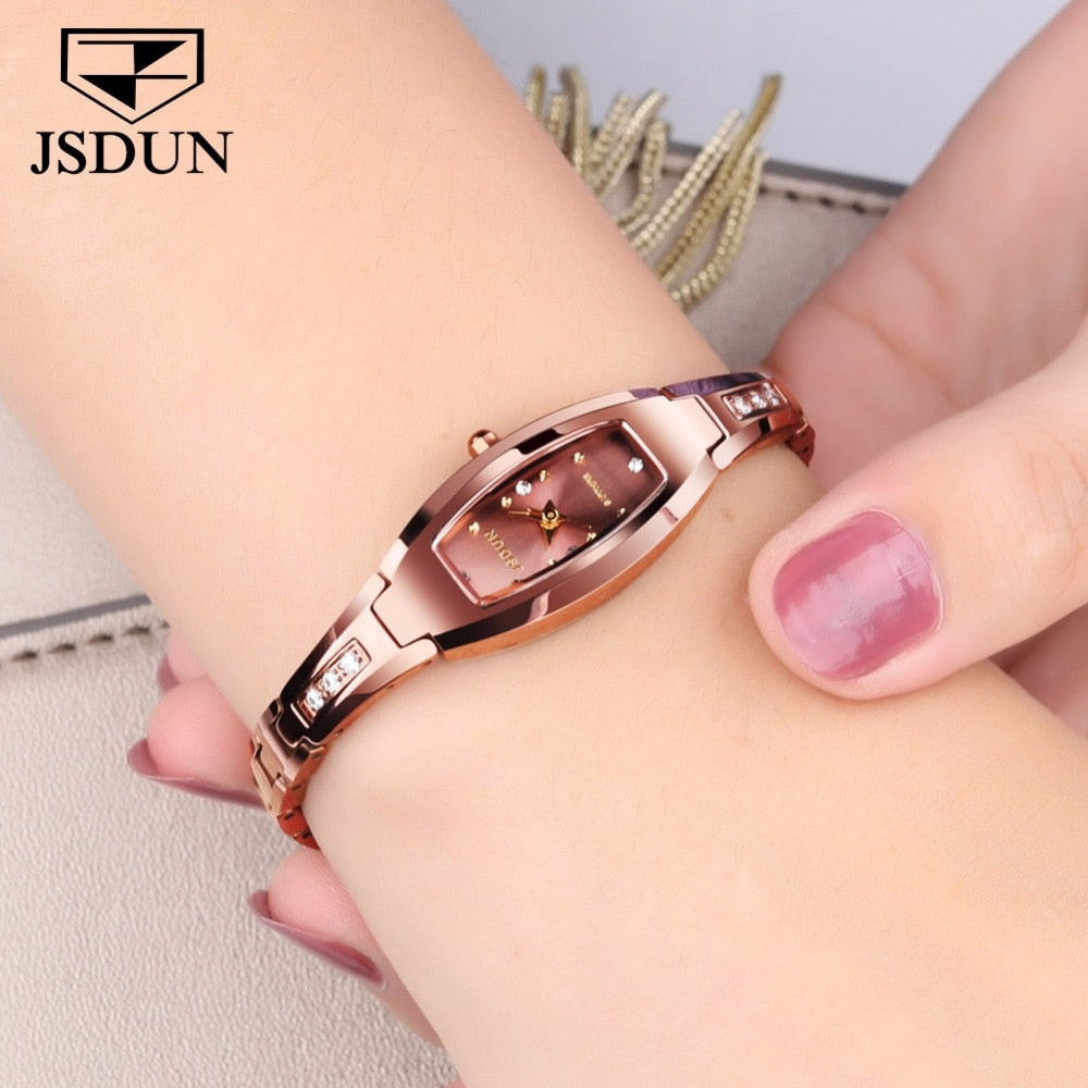 JSDUN Luxury Ladies watch women Rose gold Tungsten steel bracelet Rhinestone Small dial Dress montre femme relogio feminino saat - go-sale-now
