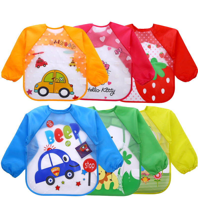 2018 Baby Bibs Infant Burp Cloths Toddler Scarf Feeding Smock Long Sleeve Waterproof Coverall Animals Baby Feeding Accessories - go-sale-now