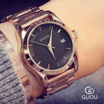 GUOU Women's Watches Business Ladies Watch Rose Gold Bracelet Watch Women Stainless Steel Auto Date Clock relogio feminino saat