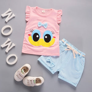 Summer Cute Cartoon 2PCS Kids Baby Girls Floral T-shirt Top Shorts Pants Set Clothes Girls Clothing Sets - go-sale-now