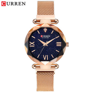Luxury Rose Gold Women Watches Minimalism Starry sky Magnet Buckle Fashion Casual Female Wristwatch Waterproof Roman Numeral - go-sale-now