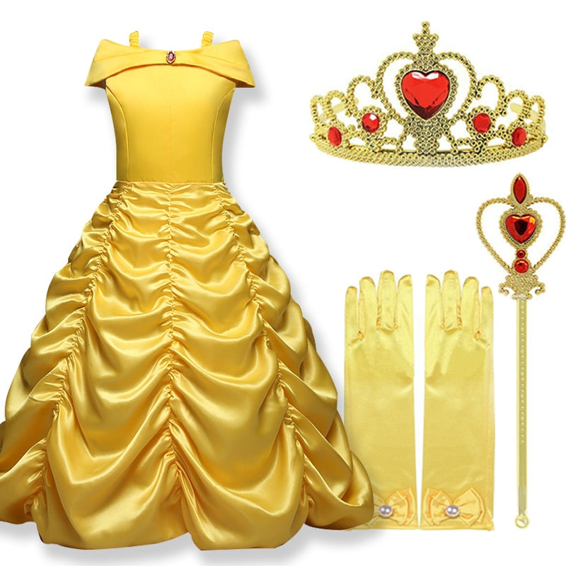 2019 Cosplay Belle Princess Dress Girls Dresses For Beauty and the beast Kids Party Clothing Magic stick crown Children Costume - go-sale-now