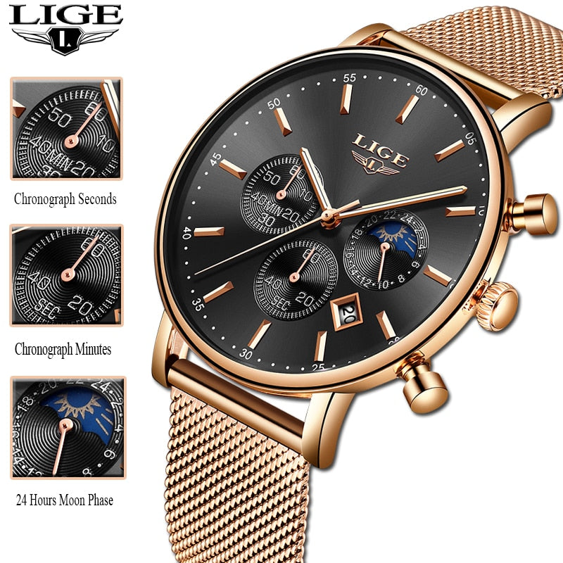 Valentine's Day Present Clock Women LIGE  Watch Business Quartz Watches Ladies Top Brand Luxury Watch Female Girl  Wrist Watch - go-sale-now
