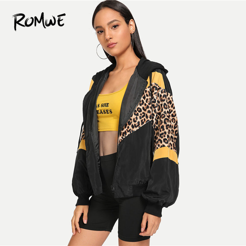 ROMWE Leopard Print Hooded Jacket Women Autumn  Clothing Sporty Womens Jackets And Coats Female Zip Up Hoodie Outerwear - go-sale-now