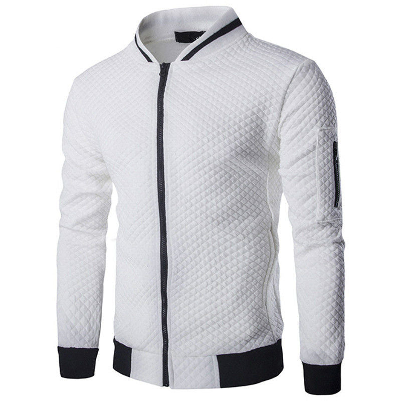 Mens Hoodies 2019 Male Brand Casual Zipper Jacket Stand-Neck Sudaderas Hombre Sweatshirt White Check 3D Plaid Tracksuit XXL - go-sale-now