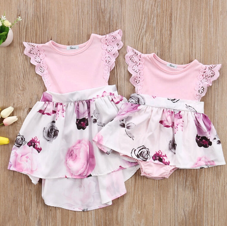 Floral Lace Fly Sleeve Rompers Dress Little Big Sisters Matching Outfits Toddler Kids Girl Newborn Baby Sisters Sundress Clothes - go-sale-now