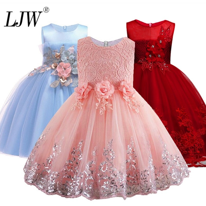 2019 Lace Sequins Formal Evening Wedding Gown Tutu Princess Dress Flower Girls Children Clothing Kids Party For Girl Clothes - go-sale-now