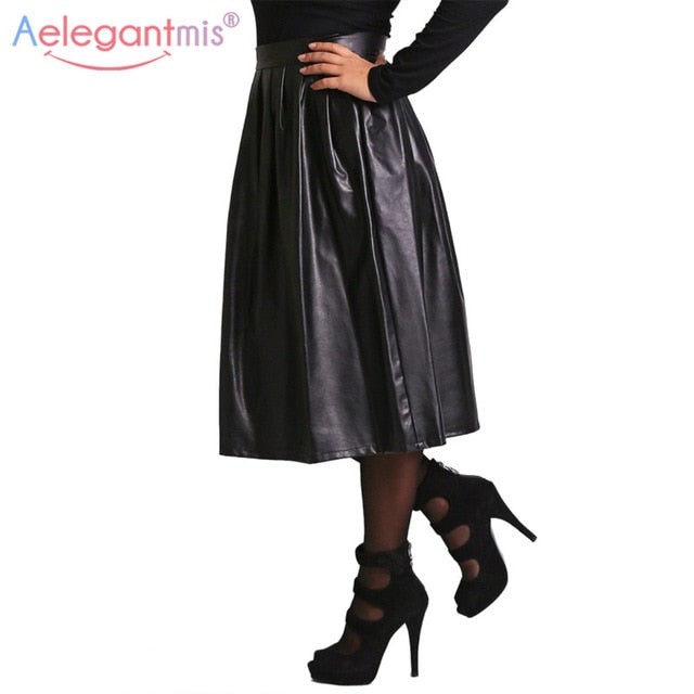 Aelegantmis High Quality Pu Leather Skirt Women Spring Autumn High Waist Long Pleated Skirt Lady Casual Solid Party Maxi Skirt - go-sale-now