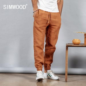 SIMWOOD 2019 spring 100% pure linen ankle-length pants men cool elasticated waistband drawstring plus size trousers male 190095 - go-sale-now