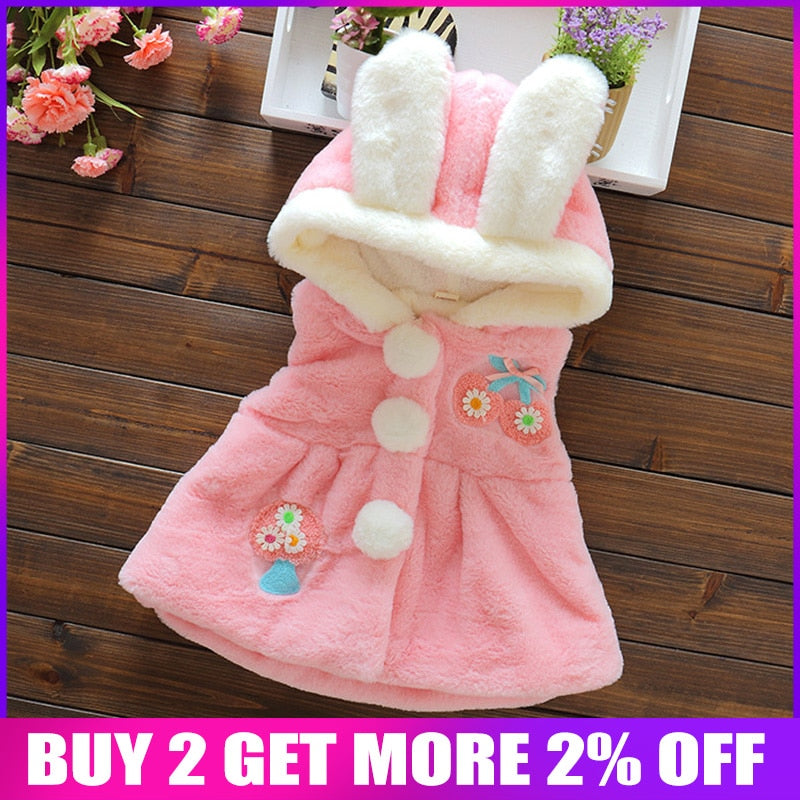 BibiCola 2017 Winter Baby Girl Clothing Baby Waistcoat Cartoon Girls Vest Casual Hooded Thicken Jacket Coats Kids Clothes - go-sale-now
