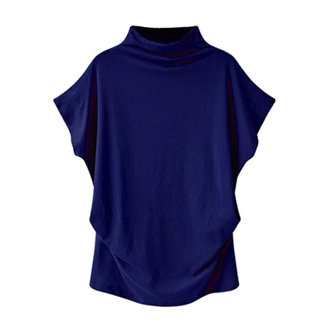 Women Casual Turtleneck Short Sleeve Cotton girl Solid Casual Blouse Top Shirt female Plus Size Solid girl clothing fashion - go-sale-now