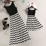 Hot Mother Daughter Matching Dress Family Outfit Summer Women Girl Kids Party Sleeveless Striped Dresses Sundress Clothes - go-sale-now