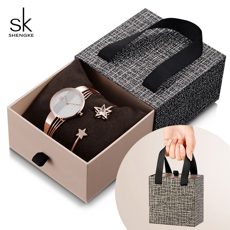 Shengke Rose Gold Bracelet Watches Women Set 2019 New Ladies Fashion Quartz Watch with Crystal Star Bangle Set Gift For Women - go-sale-now
