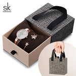 Shengke Rose Gold Bracelet Watches Women Set 2019 New Ladies Fashion Quartz Watch with Crystal Star Bangle Set Gift For Women