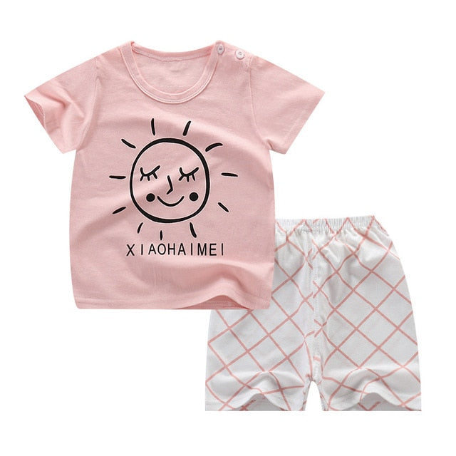 Summer Children's Pajamas Sets Cotton Short Sleeved Baby Girls Clothing Suit Cartoon Sleepwear Kids Pyjamas Enfant Boys Pyjama - go-sale-now