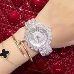 2019 new style! Top Quality Women Watches Luxury Steel Full Rhinestone Wristwatch Lady Crystal Dress Watches Female Quartz Watch - go-sale-now