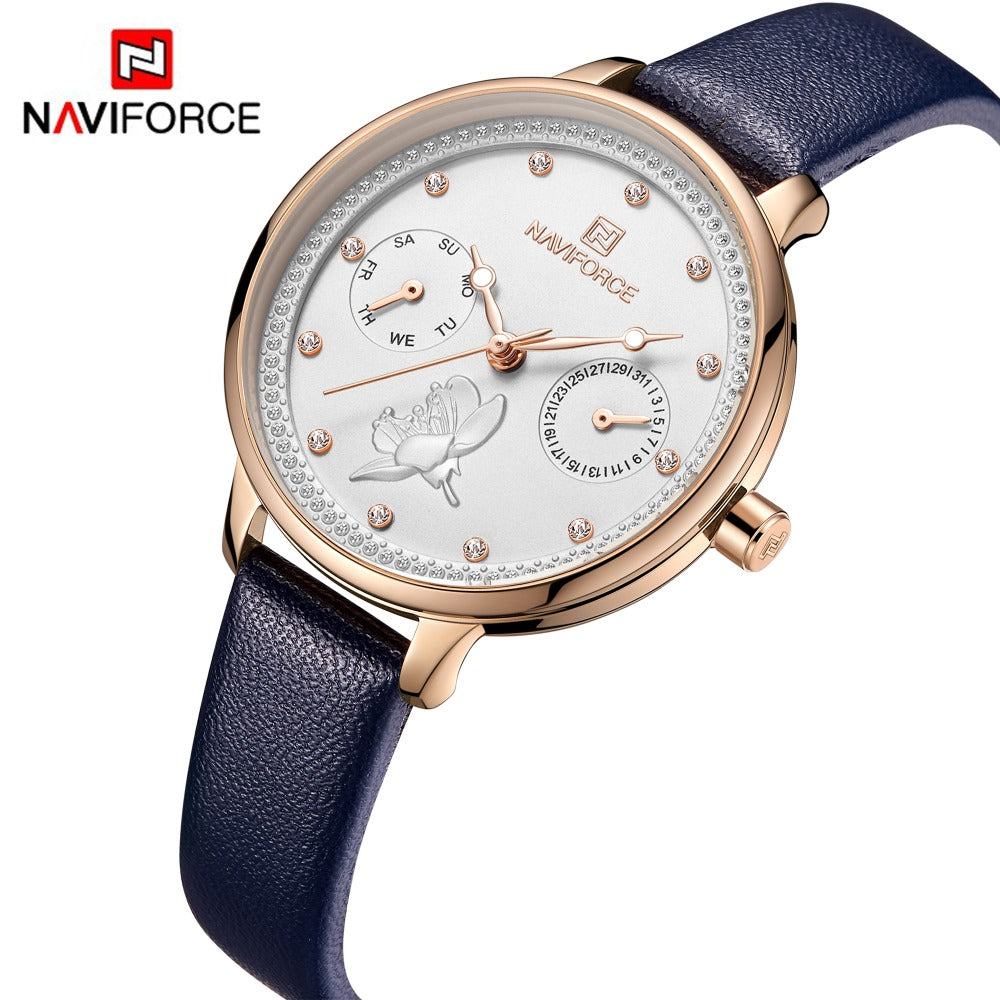 NAVIFORCE Women Watch Fashion Quartz Lady Leather Watchband Date Week Casual Waterproof Wristwatch Gift for Girl 2019 New Blue - go-sale-now