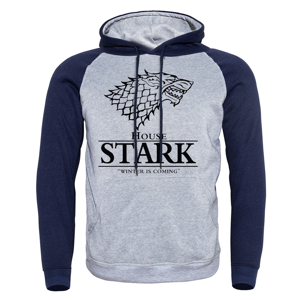 Stark New Fashion Brand Print Mens Coats Hoodies Men Pullover Harajuku Raglan Hoodie Spring Warm Game of Thrones Wolf Male